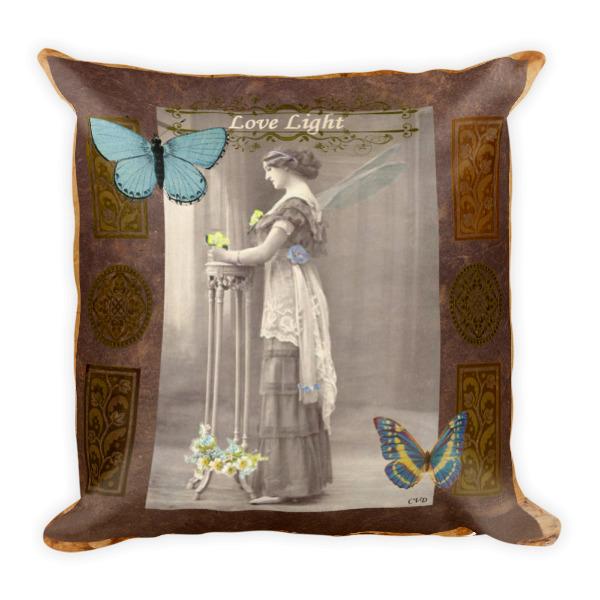 Love Light Vintage Fairy Square Pillow