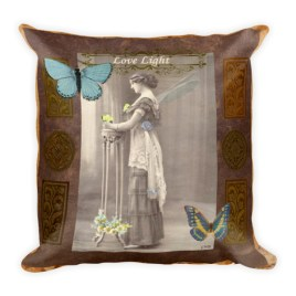 Love Light Vintage Fairy Square Pillow