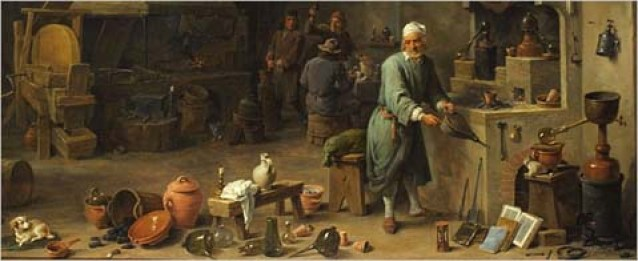 Alchemist in his Workshop, 17th century, by  David Teniers II (Antwerp 1610-1690).   Oil on canvas.  Eddleman Collection 00.03.23.  Chemical Heritage Foundation Collections  Philadelphia, PA USA.  Photo by Will Brown.  CREDIT: Chemical Heritage Foundation