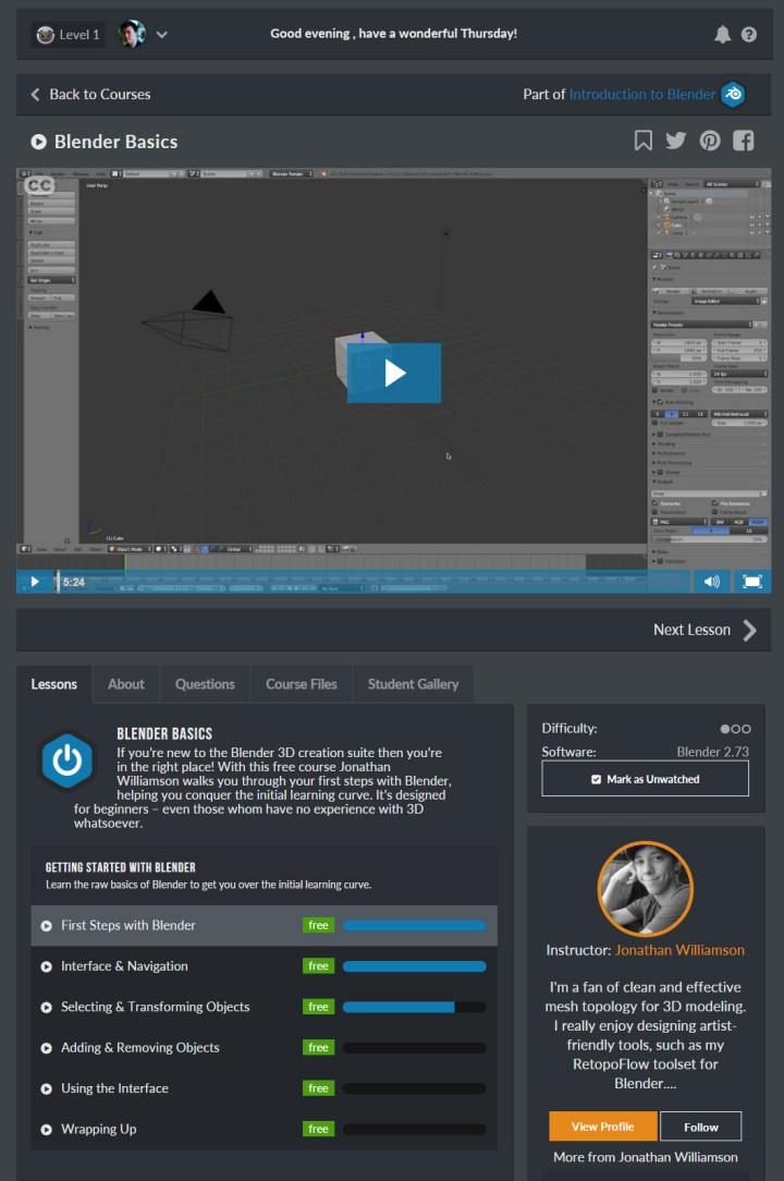 CGCookie Tutorial Interface