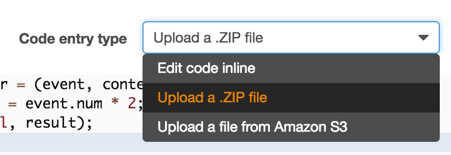 Lambda Upload ZIP Screenshot