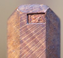 Name stamp on a molding plane from 1664. Photo: Roald Renmælmo