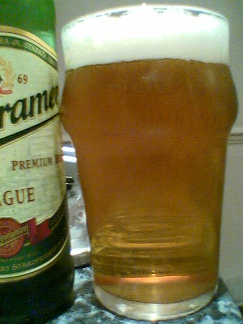 Staropramen Premium Lager poured into a glass