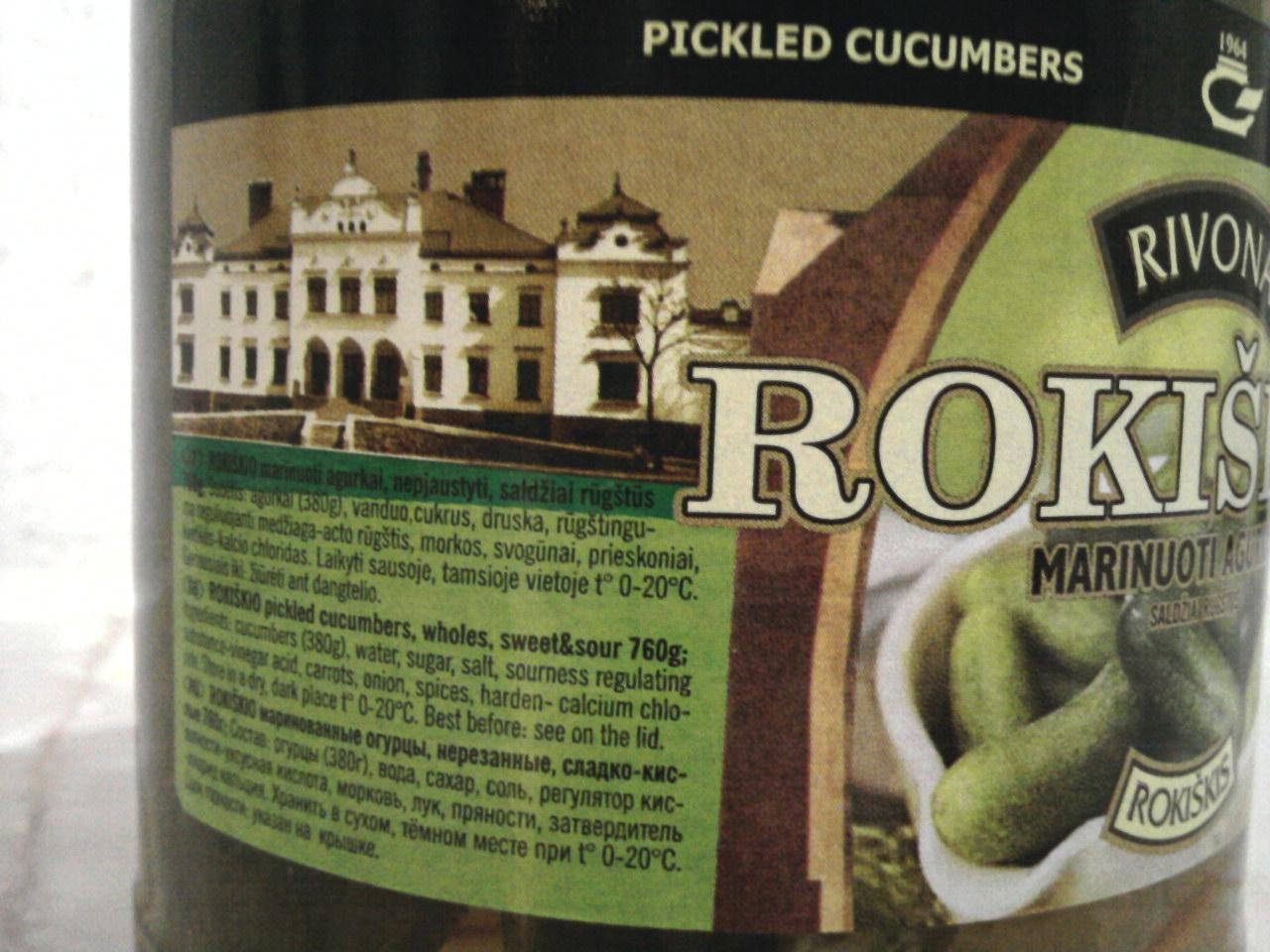 Rivona Rokiškio Marinuoti Agurkai Pickled Cucumbers ingredients side of label