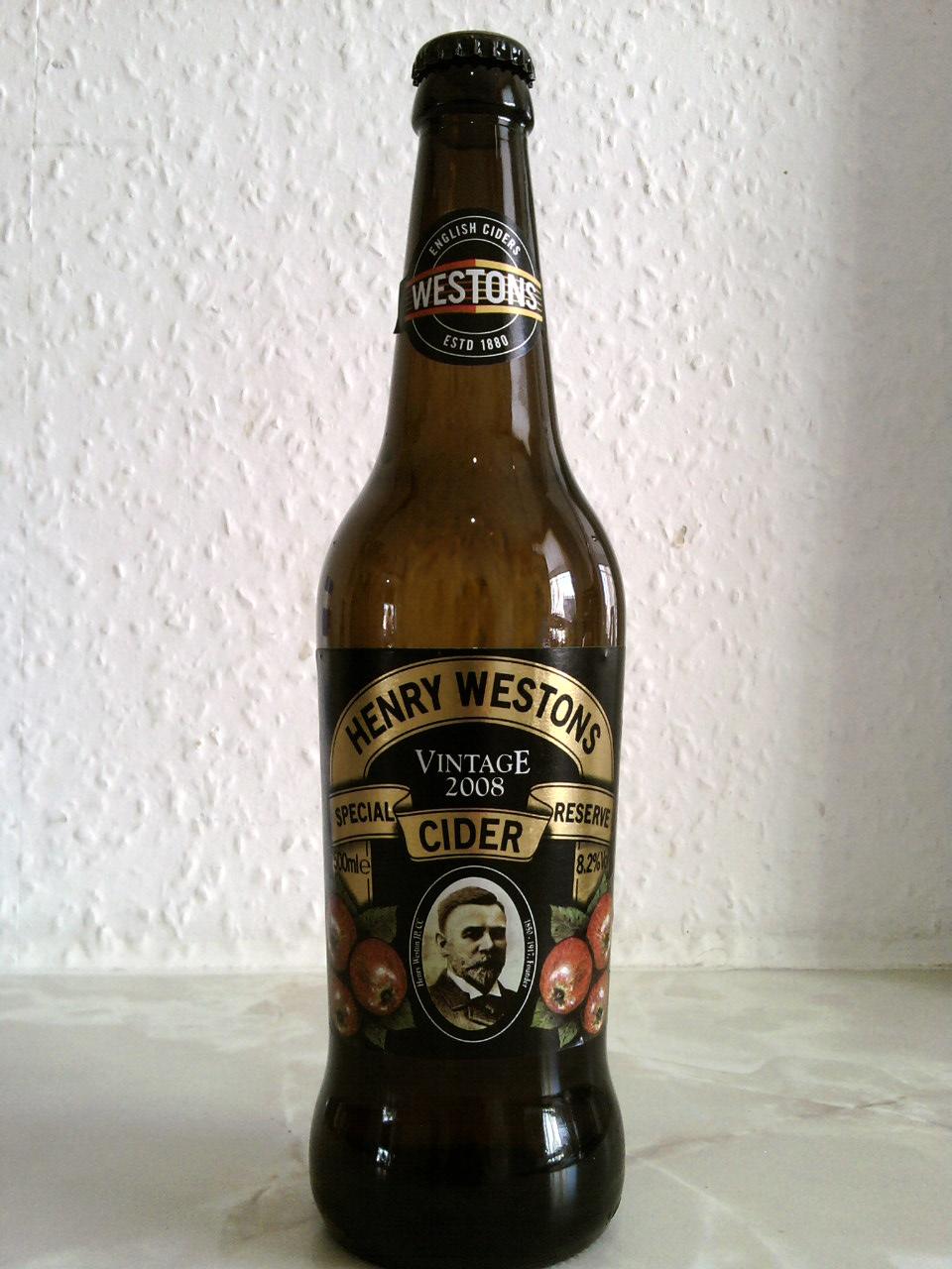 Henry Westons Vintage Special Reserve Cider bottle