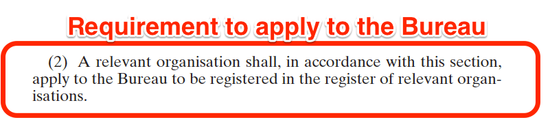 National Vetting Bureau Acts 2012 to 2016 - Organisation Registration - Obligation to Apply