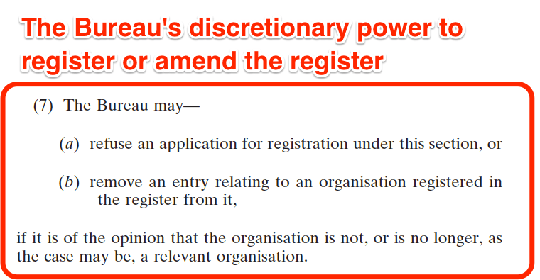 National Vetting Bureau Acts 2012 to 2016 - Organisation Registration - Discretionary power