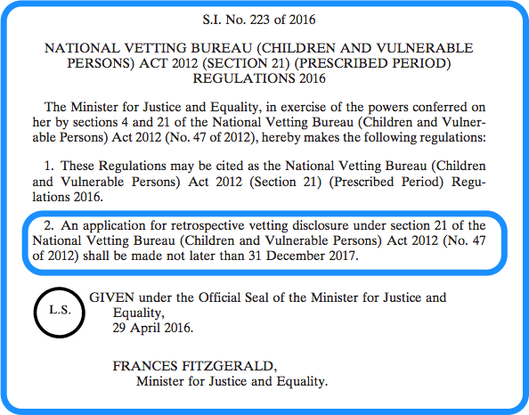 Section 21 vetting legislation - retrospective vetting
