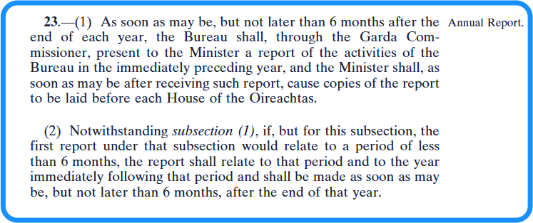 Section 23 of the vetting legislation - annual report