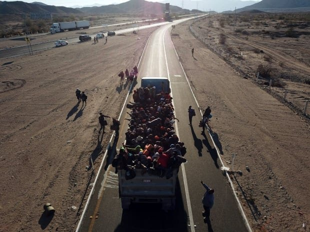 Central America Migrant Caravan going from Mexicali to Tijuana