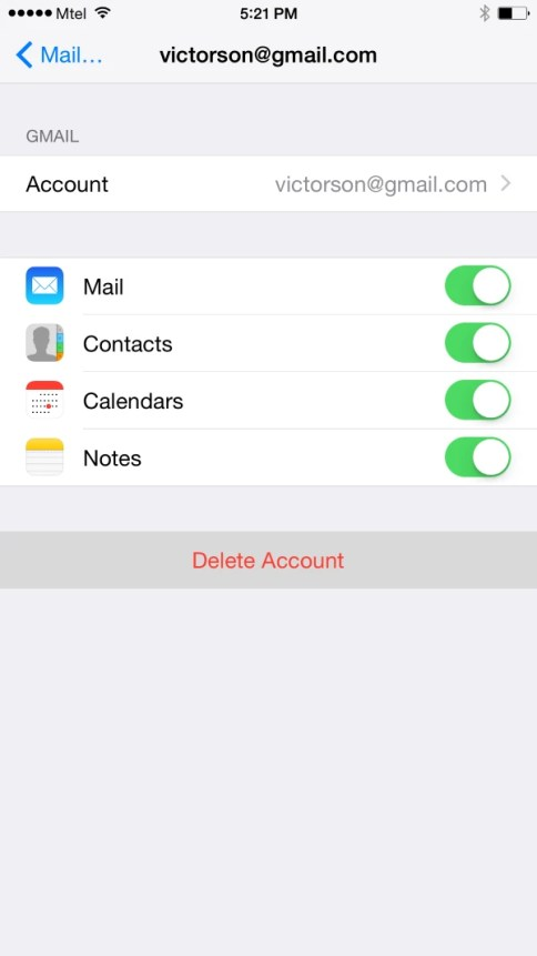 You can select to stop synchronizing mail, contacts, calendar, or notes, and the last option is to delete the account.