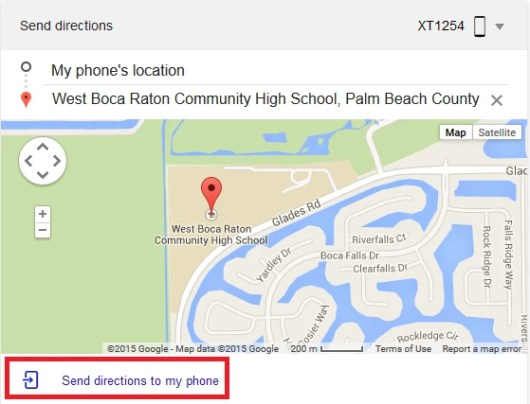 Search for Send Directions from Google and type in your destination...