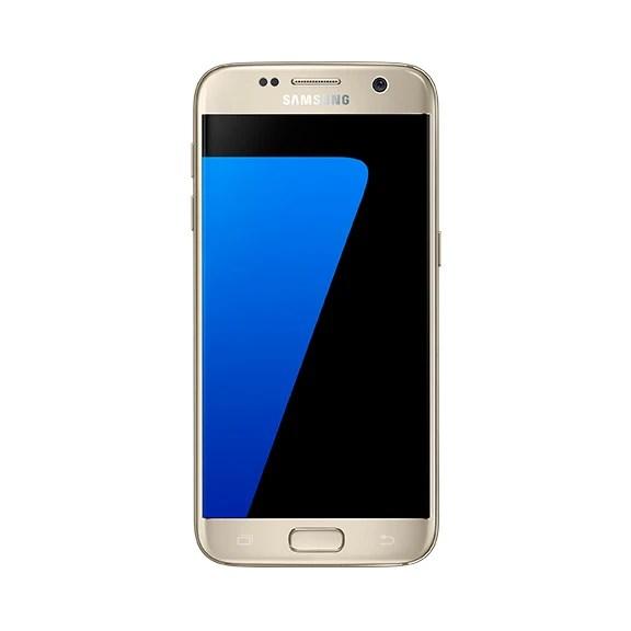 Samsung Galaxy S7 in gold.