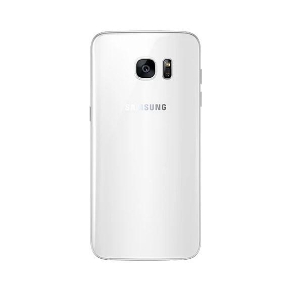 Samsung Galaxy S7 edge in white.