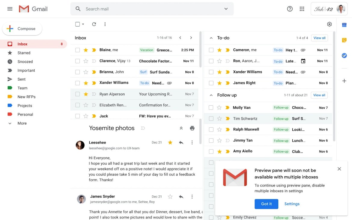 Notification banner in Gmail - Google is making important changes to Gmail starting February 20
