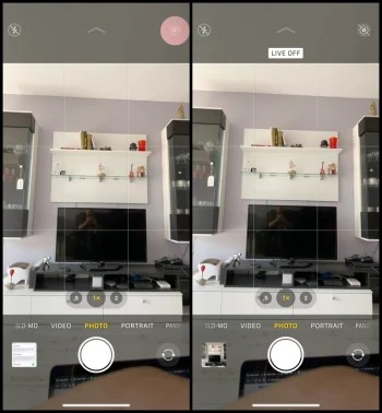 The Live Photo icon is a little circle in the Camera app - How to free up storage on iPhone