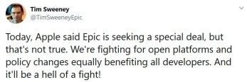 Epic CEO Tim Sweeney says that Epic isn't seeking a special deal from Apple and is fighting on behalf of all developers - Apple accuses Epic of deceiving it in new court filing