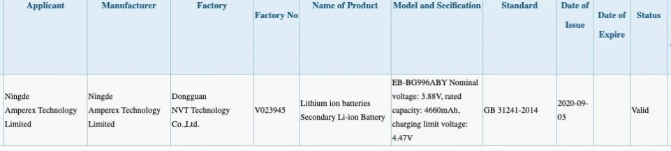 Samsung Galaxy S21 (S30) Plus monstrous battery revealed by China's 3C database