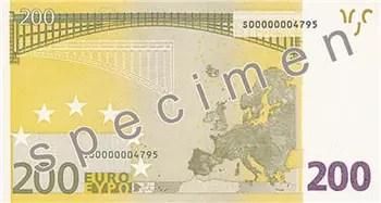 reproduction partielle de billet spécimen de 200 euros.