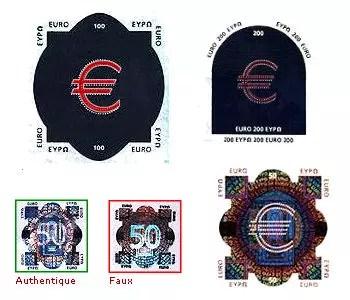 reproduction partielle des pastilles authentiques de 50, 100 et 200 euros. et un