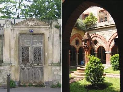 a gauche la fantomatique porte du 37, rue boileau; à droite aux orphelins