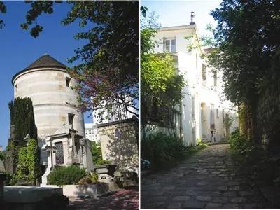 dans le petit-montrouge, le moulin de la charité à gauche, la villa hallé à