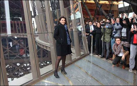 Eiffel Tower Fancy Glass Floor Somebody famous at Grand Opening of the glass floor at Eiffel Tower