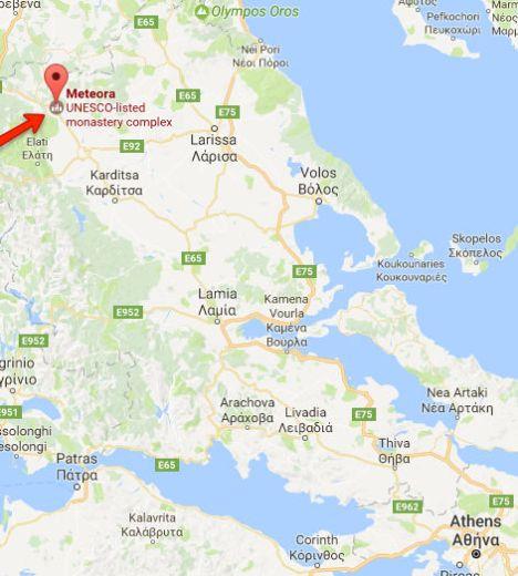 Map of Meteora Monasteries