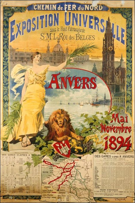 Vintage tourist poster Anvers 1894