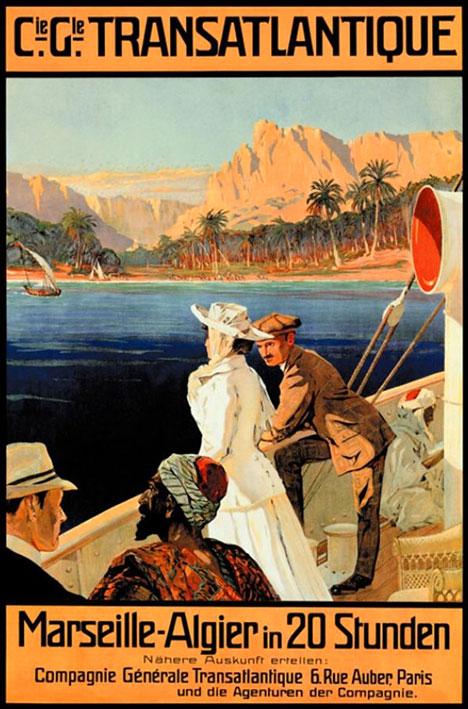 Vintage tourist poster Cie gle transatlantique marseille algier 1956