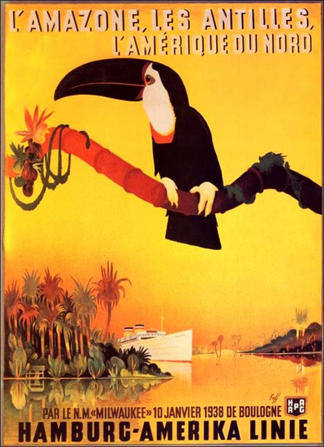 Vintage Tourist Poster - Hapag Hamburg Amerika Linie