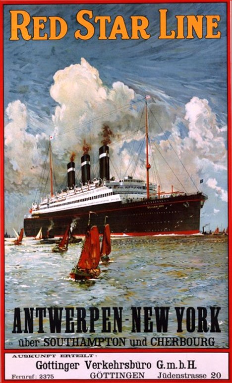 Vintage tourist poster Red Star Line Antwerpen New York