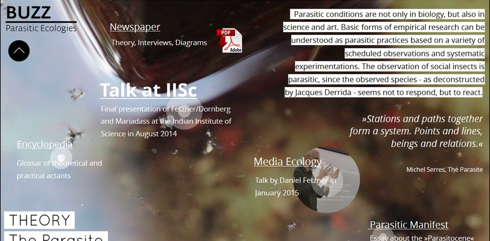 Screenshot of the i-doc Buzz as part of the multi-platform artistic research project