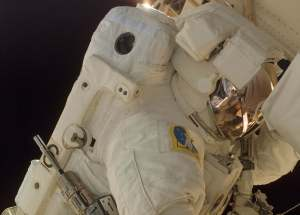 Army astronaut Col. Doug Wheelock, STS-120 mission specialist, on his first spacewalk to perform work on the International Space Station. During his third spacewalk on Saturday, he and mission specialist Scott Parazynski will attempt to repair a torn solar array in the Port 6 truss. Photo by NASA
