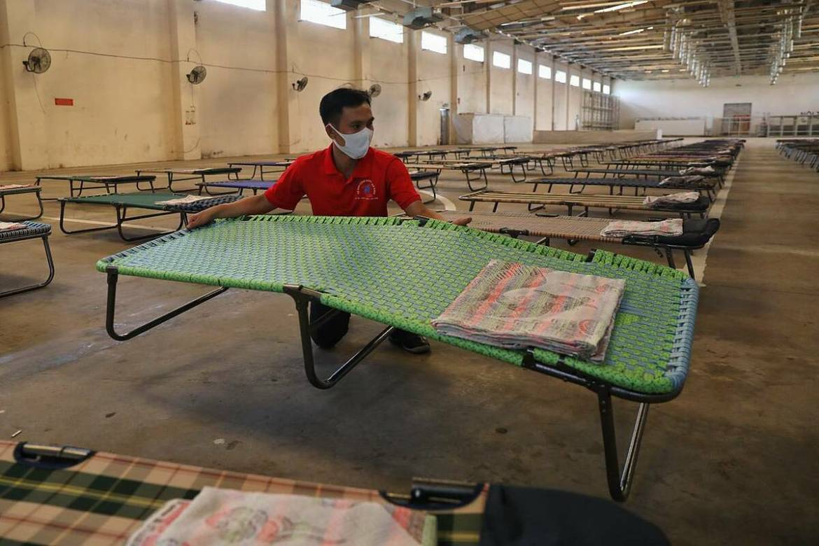 The market has been abandoned for a long time, it took us days to make it clean. After cleaning, we arranged the chairs in line and put a blanket on each, Nguyen Van To, one of the cleaning staff said.