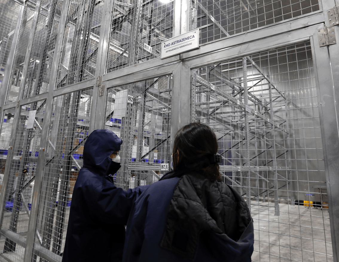 As requested, the Covid-19 AstraZeneca vaccine should be stored at the temperature of minus 2-8 degrees Celcius. The first doses are kept in a freezer with different security layers and monitored via a security camera system.