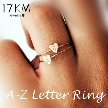 17KM Fashion Gold Silver Color Heart Letters Rings For Women DIY Name Ring Set Female Statement Engagement Party Jewelry 2018-in Rings from Jewelry & Accessories on Aliexpress.com | Alibaba Group