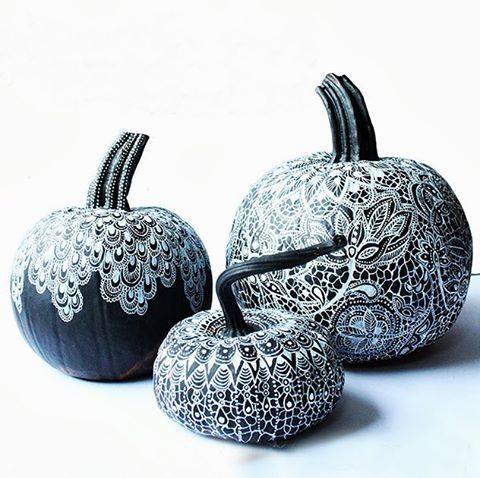 Pumpkins the Alisa Burke way!  She created these about 3 years ago using black acrylic paint and a paint pen. She used a few scraps of lace as her inspiration for the pattern. TIP: She used fine tip white Sharpie paint pens.
