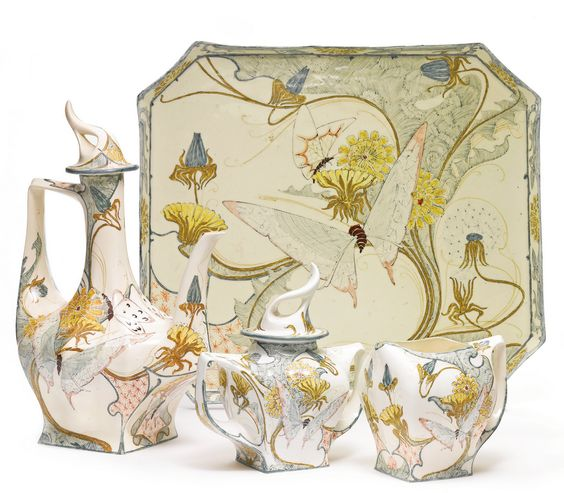 Rozenburg partial coffee service decorated by H. G. A. Huyvenaar, 1899, decorated with dandelions and butterflies