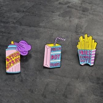 Enamel Pin Spray Drink French fries Fresh boy tears Fries before guys Brooch Hat Backpack Accessories Lapel pin badges Jewelry-in Brooches from Jewelry & Accessories on Aliexpress.com | Alibaba Group