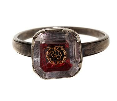 18th century Sterling silver Stuart Crystal made into a ring sometime in the 1800′s. Stuart Crystals started off as mourning jewels protesting the execution of King Charles I (of the House of Stuart) in 1649. By the end of the 17th century, the little rock crystal jewelry had become a popular form of memorial, mourning