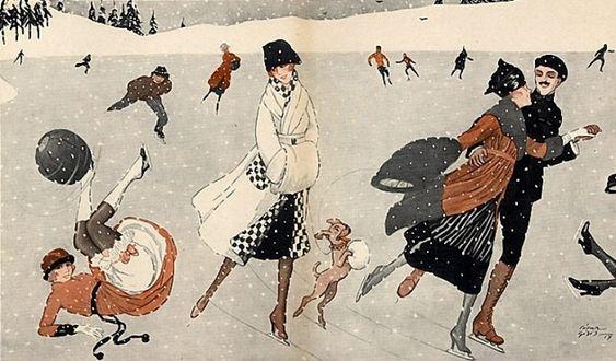 Cesare Giri (1878-1938) __ Winter Sports, Ice Skating