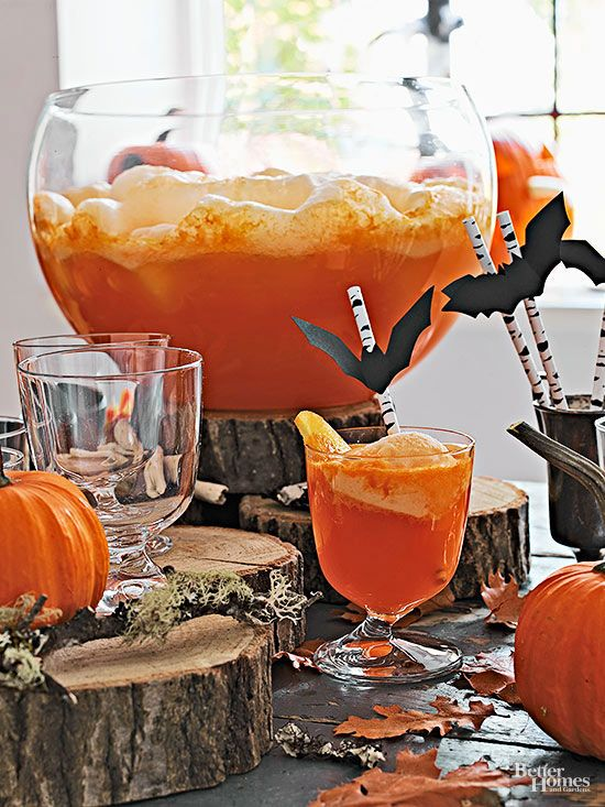 Make sure you have one of these Halloween themed drinks at your party to make it a hit! Choose from adult beverages or kid friendly drinks. We have drink recipes for orange sherbert punch, candy corn punch, egg nog and pumpkin smoothies!