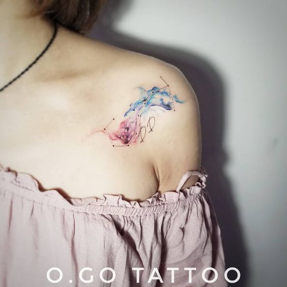 A watercolor tattoo on the shoulder- 27 Low-key Gorgeous Scorpio Tattoos