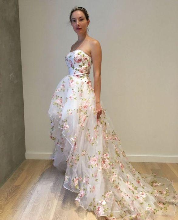 Floral Organza Hi Low Wedding Dress by WeekendWeddingDress on Etsy