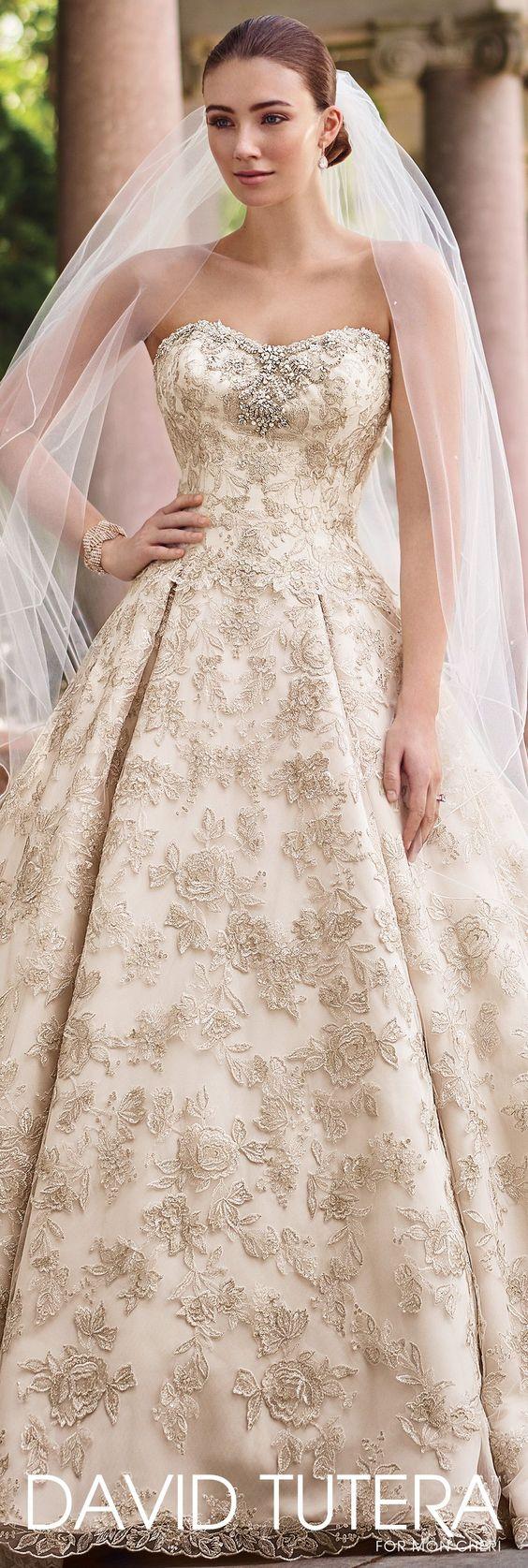 David Tutera for Mon Cheri Spring 2017 Collection - Style No. 117274 Gilda - strapless gold metallic lace ball gown wedding dress