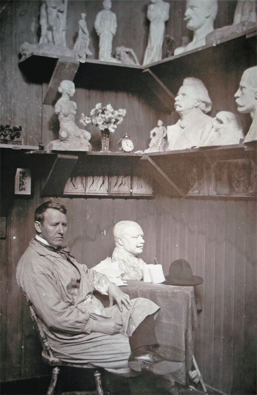 Gustav Vigeland in his studio. Oslo, Norway