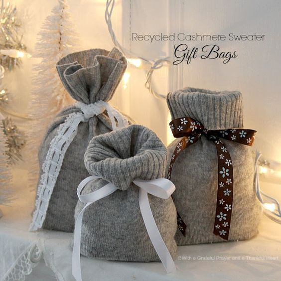 With a Grateful Prayer and a Thankful Heart: Recycled Cashmere Sweater Christmas Stocking & Gift Bags
