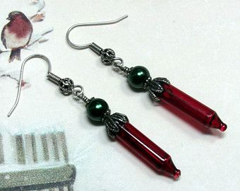 Christmas Candle Earrings Candle Earrings by HappyEverythingElse