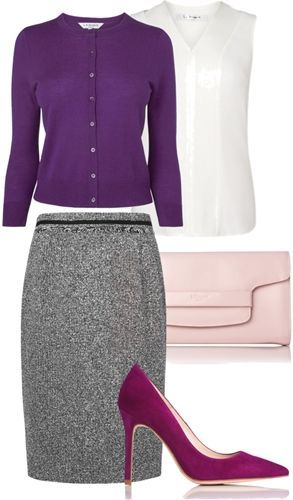 purple cardigan + tweed skirt for fall